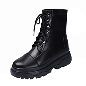 Lace Up Martin Ankle Boots 6 cm Heeled Closed Toe Round Toe Leather