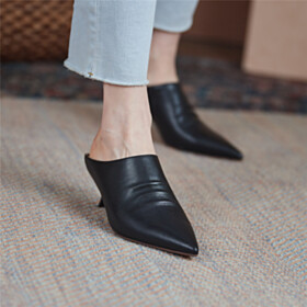 Black Mules Stiletto Heels Low Heel Classic Business Casual Shoes