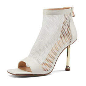 Sandal Boots Stiletto High Heels Booties Going Out Footwear Cut Out 2021 Business Casual Open Toe Womens Sandals Fashion Tulle White