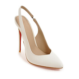 White Slip On Elegant 2020 Office Shoes Slingback 11 cm High Heel Spring Pumps Closed Toe Pointed Toe
