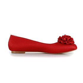 Flats Round Toe Red Bridals Wedding Shoes Slip On Ballet Shoes