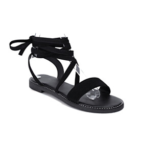 Peep Toe Classic Flat Shoes Boho Strappy Beach Footear Ankle Wrap Suede Gladiator Lace Up Faux Leather Black Sandals