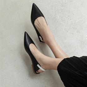 Flat Shoes Slingback Pointed Toe Comfort Classic Black
