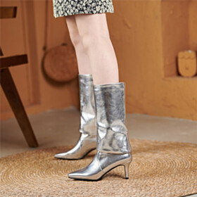 Mid Heel 2021 Stiletto Heels Silver Metallic Business Casual Mid Calf Boots Pointed Toe