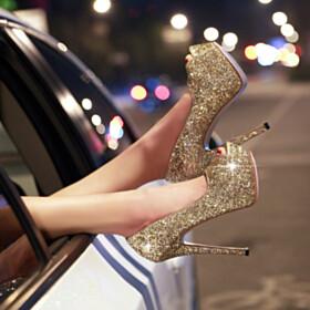 Peep Toe Sparkly Glitter Platform High Heels Stilettos Dance Evening Shoes
