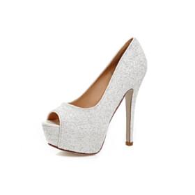 2020 Slip On Sequin Party Shoes Sparkly 5 inch High Heeled Platform Heel Open Toe Pumps Dancing