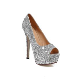 Open Toe Silver Slip On Pumps 5 inch High Heel Sparkly Platform Sequin Dancing Evening Shoes