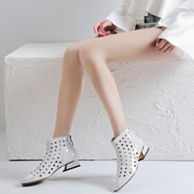 Round Toe Leather Sandal Boots Ankle Boots