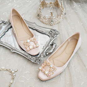 With Crystal Square Toe Flats Wedding Shoes For Bridal Elegant Comfort Satin Womens Shoes