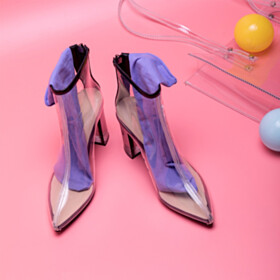 Women Shoes Pointed Toe Ankle Boots 3 inch High Heel Fashion Clear