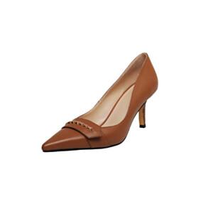 Leather 7 cm Mid Heel Brown Pumps Stiletto