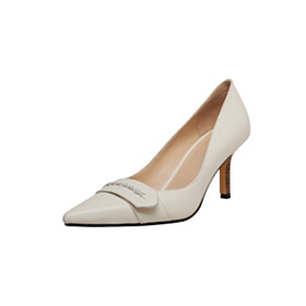 Beautiful Shoes White 2021 Leather Pumps 7 cm Mid Heel