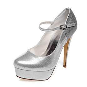 Glitter Almond Toe High Heel Sparkly Evening Shoes Ankle Strap