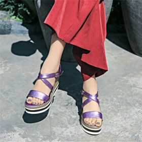 10 cm High Heel Purple Neon Color Wedge Peep Toe Strappy Sandals Going Out Shoes Espadrilles
