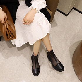 Black Round Toe Comfort Sandals Flat Shoes Tulle Booties Classic
