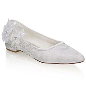 Beautiful Womens Footwear Bridals Wedding Shoes Slip On Lace Flower