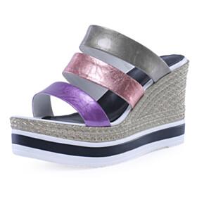 Strappy Fashion Bronze High Heels Wedge Slipper Beach Womens Sandals Open Toe Metallic