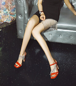 4 inch High Heel Red Sparkly Sandals For Women With Ankle Strap Chunky Fringe