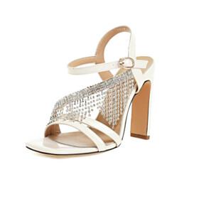Sparkly Rhinestones Modern White Tassel Leather Open Toe 10 cm High Heel Thick Heel Strappy Sandals