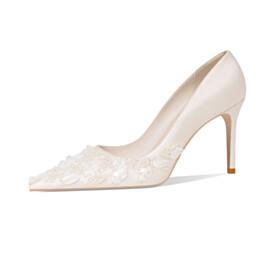Stilettos White Bridals Wedding Shoes Pointed Toe 3 inch High Heel Pumps