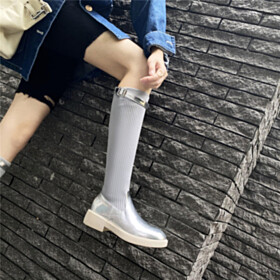 Knee High Boots Flat Shoes Patent Leather Silver Sock Sparkly Modern