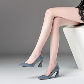 Womens Footwear Mid Heels Square Toe Pumps Fashion Pearl