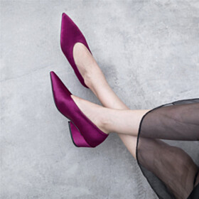 5 cm Low Heel Business Casual Shoes Classic Pointed Toe Chunky Pumps