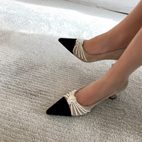 Chunky Mid High Heeled Color Block Cute Pumps Nude Business Casual Womens Footwear Leather