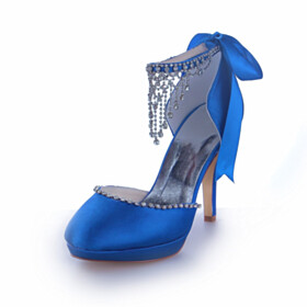 With Bowknot Fringe Blue 10 cm High Heels Elegant Wedding Shoes For Bridal Sandals With Ankle Strap