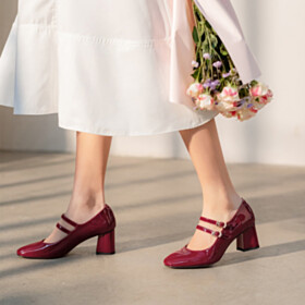 Block Heel Classic Vintage Thick Heel Pumps Mary Janes With Ankle Strap Mid Heel 2021