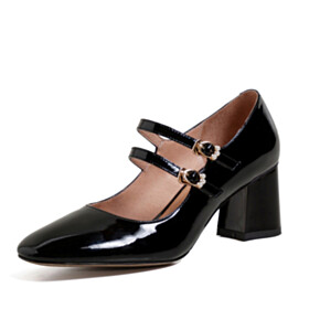 Thick Heel Leather Spring Ankle Strap Business Casual Black Mid Heel Block Heels Classic