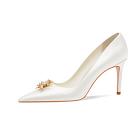 Elegant Pumps Party Shoes Bridals Wedding Shoes Stilettos Slip On Satin With Flower High Heel Womens Shoes