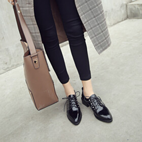 Shoes Leather Low Heeled Pointed Toe Studded Oxford Shoes