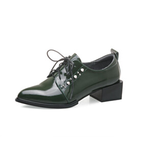 Dark Emerald Green Oxford Shoes Classic Leather Business Casual Shoes 4 cm Low Heel