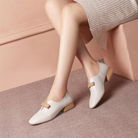 Fashion Loafers Chunky Heel 3 cm Low Heel Leather Grained