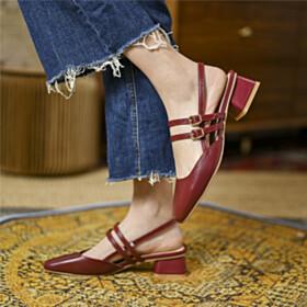Sandals Vintage Leather Low Heels Slingbacks Ankle Strap