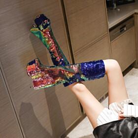Glitter Gradient Sparkly Knee High Boots Gold Over 6 inch High Heel Modern Platform