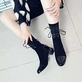 Leather Black Going Out Footwear Fashion Booties Thick Heel Low Heel