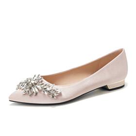 Ballet Crystal Shoes Rhinestones Flats Bridals Wedding Shoes Satin