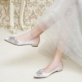 Ballet Crystal Shoes Rhinestones Flats Bridals Wedding Shoes Satin