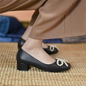 Shoes Round Toe Leather Block Heel Pumps Low Heels Cute Comfortable