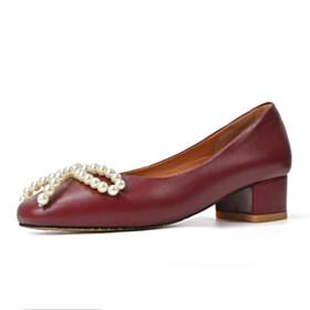 Slip On Cute With Pearls Burgundy Block Heel Pumps Low Heeled Leather Womens Footwear