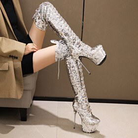Sparkly Stilettos Tall Boots Thigh High Boot Ombre 6 inch High Heel Silver Lacing Up Platform