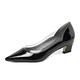 Business Casual Work Shoes Clear Pumps Low Heel Leather Fashion Kitten Heel Comfort