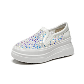 Sequin Cute White Sneakers 2021 Leather Flats