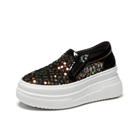 Leather Flat Shoes Sneakers Black Cute Sequin