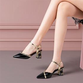 Chunky Heel Fashion Pointed Toe Block Heels Crystal Sandals Mid Heels Black Ankle Strap Elegant