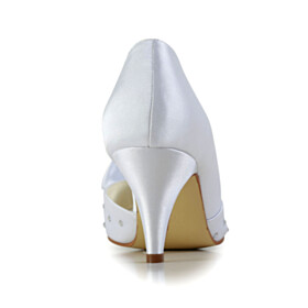 Bowknot Peep Toe White Rhinestones 6 cm Heel Pumps Stilettos Wedding Shoes For Bridal Dress Shoes