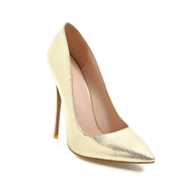 Classic Stiletto Gold Pumps Closed Toe Pointed Toe 12 cm High Heel