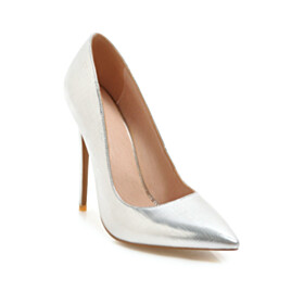 Pointed Toe Silver Classic Pumps High Heel Stilettos